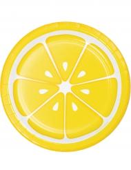 8 Piatti in cartone Limone 18 cm