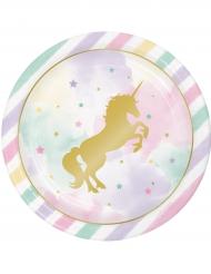 8 piatti di carta unicorno pastello