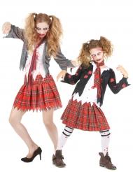 Costume da scolare zombie mamma e figlia halloween