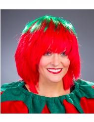 Parrucca da fragola verde e rossa per donna