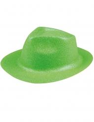Cappello borsalino verde fluo con brillantini