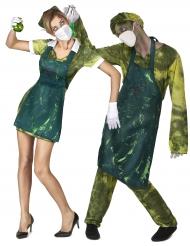 Vestito di coppia medici radioattivi per halloween.