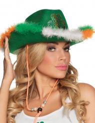 Cappello da cowboy verde con pelliccia e trifoglio per adulto San patrizio