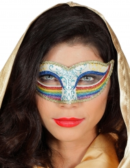 Maschera con brillantini blu e arcobaleno per donna