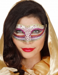 Maschera con brillantini rosa e arcobaleno per donna