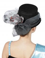 Cappelllo a cilindro con fiocco fiore argentato adulto