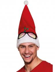 Cappello di natale umoristico con occhiali per adulto