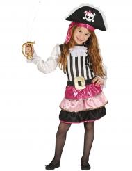 Costume da piratessa glamour rosa bambina