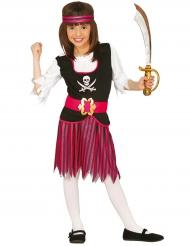 Costume da pirata a righe rosa e nere bambina
