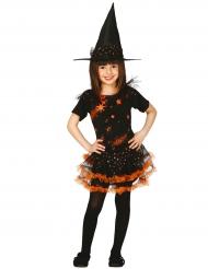 Costume da strega delle stelle nero e arancione per bambina
