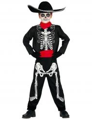 Costume da scheletro colorato dia de los muertos per bambino