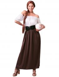 Costume da locandiera medievale bianco e marrone per donna