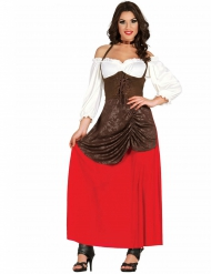 Costume da ostessa medievale marrone e rosso