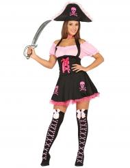 Costume da pirata rosa e nero per donna