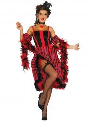 Costume ballerina di Cancan rosso e nero per donna
