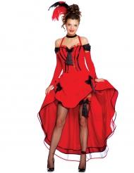 Costume Cancan rosso con fiocchi neri per donna