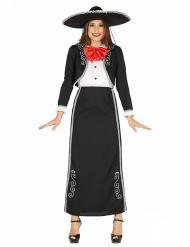Costume da messicana in bianco e nero per donna