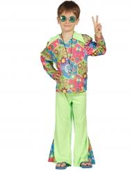 Costume hippie verde con simboli multicolore per bambino