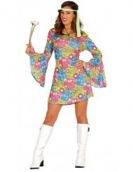 Costume da hippie con simboli colorati per donna