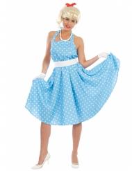 Costume anni 50 azzurro a pois per donna