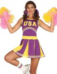 Costume da ragazza pompom USA viola e giallo per donna