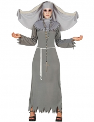 Costume da suora posseduta da donna per halloween
