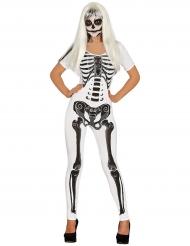 Costume tuta bianca da scheletro per donna halloween