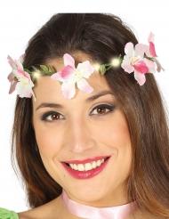 Coroncina di fiori rosa luminosa adulto