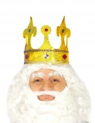 Corona dorata  da re con finti gioielli incastonati per adulto