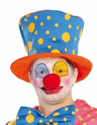 Cappello a cilindro da clown a pois per adulto