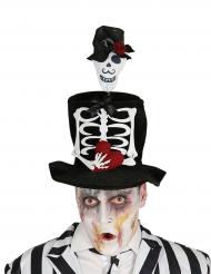 Cappello a cilindro scheletro per adulto Halloween