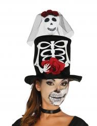 Cappello a bombetta sposa teschio per halloween