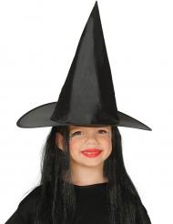 Cappello da streghetta con capelli neri per bambina