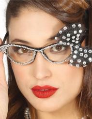 Occhiali anni 50 con papillon bianco per donna
