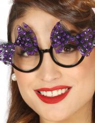 Occhiali anni 5à con papillon viola per donna