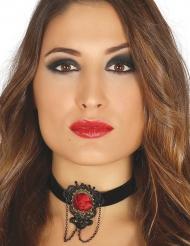 Girocollo nero con rosa rossa per donna