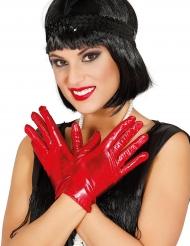 Guanti rosso metallizzato per donna