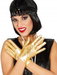 Guanti corti oro metallizzato per donna