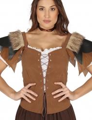 Costume con corsetto medievale marrone per donna