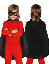 Mantello nero da super eroe 55 cm per bambino