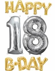 Pacco 4 palloni oro e argento Happy Bday 18 anni