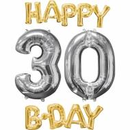 4 palloni di alluminiooro e argentoHappy Birthday 30 anni !