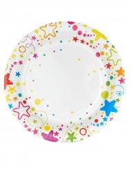 6 Piatti in cartone con stelle e pois colorati 23 cm