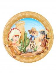 6 piatti Cowboy e Indiani, 23 cm