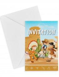 6 inviti di compleanno indiani e cowboy
