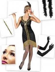 Set Costume Charleston nero e oro per donna