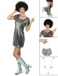 Set Costume disco argentato da donna
