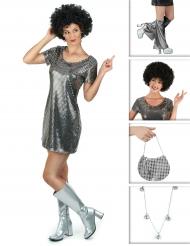 Set Costume disco argentato da donna