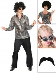 Set costume disco argentato da uomo