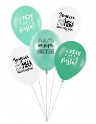 5 palloncini in lattice color menta biodegradabile per il compleanno